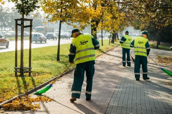Pracownicy firmy porządkowej zamiatają z liści chodnik i ścieżkę rowerową